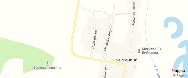 Садовый переулок на карте деревни Семиричей с номерами домов
