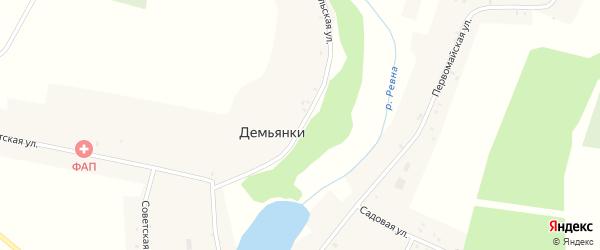Комсомольская улица на карте села Демьянки с номерами домов