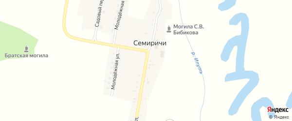 Набережная улица на карте деревни Семиричей с номерами домов