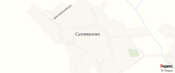 Центральный переулок на карте деревни Суховерхово с номерами домов