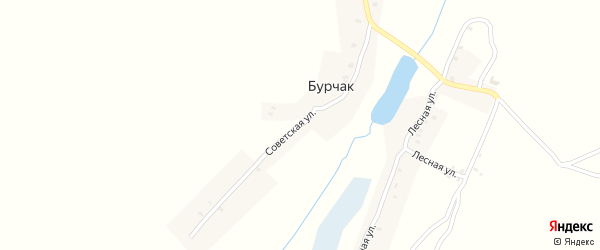 Советская улица на карте деревни Бурчака с номерами домов