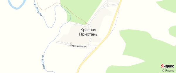Заречная улица на карте деревни Красной Пристани с номерами домов