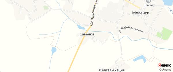 Карта деревни Савенки в Брянской области с улицами и номерами домов