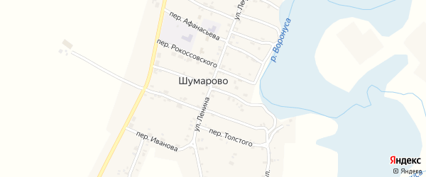 Центральный переулок на карте села Шумарово с номерами домов