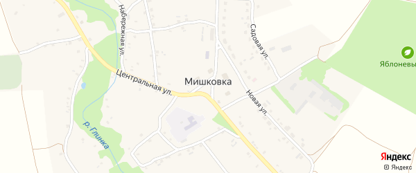 Зеленая улица на карте села Мишковки с номерами домов