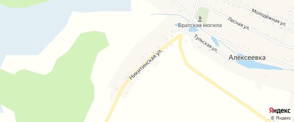Никитинская улица на карте деревни Алексеевки с номерами домов