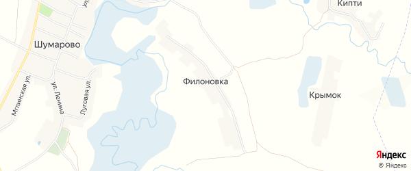 Карта поселка Филоновки в Брянской области с улицами и номерами домов
