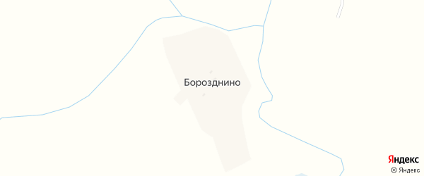 Солнечная улица на карте деревни Борозднино с номерами домов