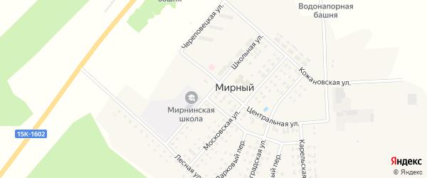 Школьная улица на карте Мирного поселка с номерами домов