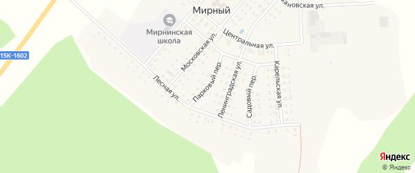 Парковый переулок на карте Мирного поселка с номерами домов