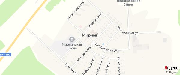 Садовый переулок на карте Мирного поселка с номерами домов