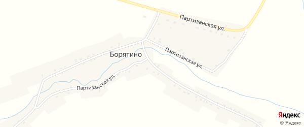 Партизанская улица на карте деревни Борятино с номерами домов