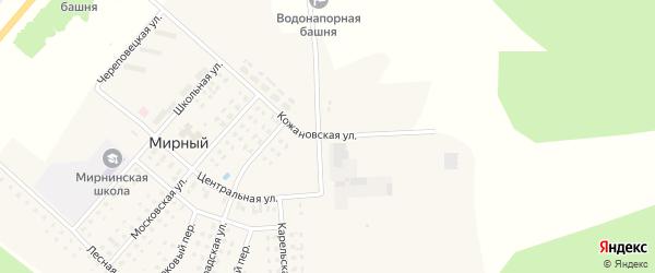 Кожановская улица на карте Мирного поселка с номерами домов