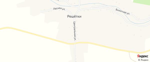 Центральная улица на карте села Решетки с номерами домов