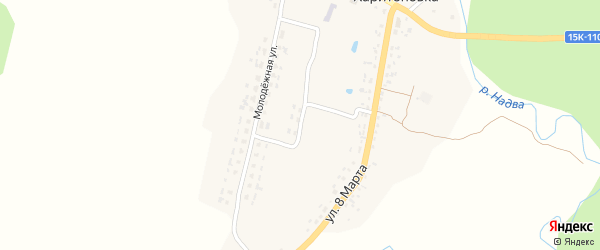 Зеленый переулок на карте деревни Харитоновки с номерами домов