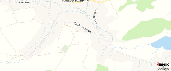 Карта села Андрейковичей в Брянской области с улицами и номерами домов