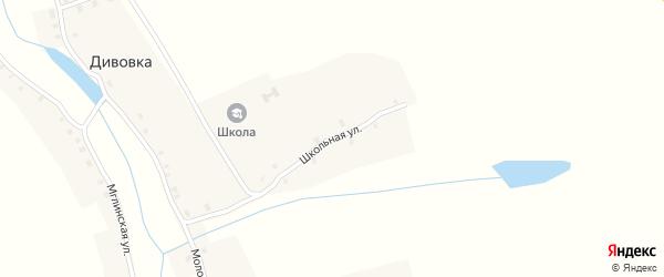 Школьная улица на карте села Дивовки с номерами домов