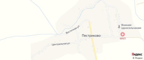 Восточная улица на карте деревни Пестриково с номерами домов