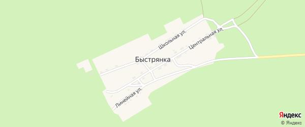 Линейная улица на карте поселка Быстрянки с номерами домов