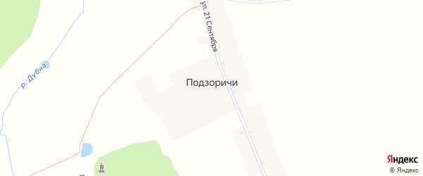 Лесной переулок на карте деревни Подзоричей с номерами домов