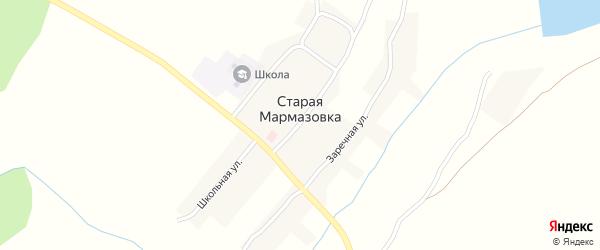 Заречная улица на карте деревни Старой Мармазовки с номерами домов