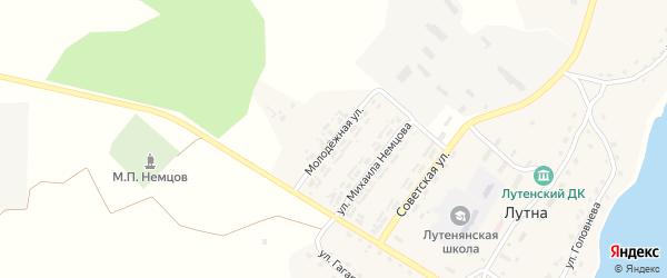 Молодежная улица на карте села Лутны с номерами домов