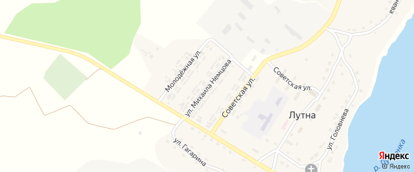Улица Михаила Немцова на карте села Лутны с номерами домов