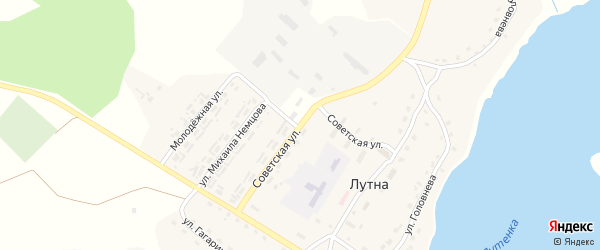 Советская улица на карте села Лутны с номерами домов
