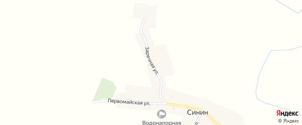 Заречная улица на карте села Синина с номерами домов