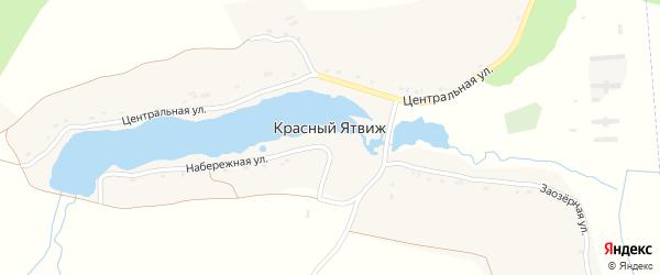 Заозерная улица на карте деревни Красного Ятвиж с номерами домов