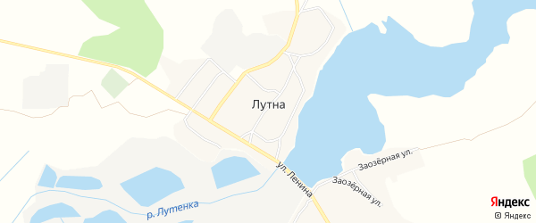 Карта села Лутны в Брянской области с улицами и номерами домов