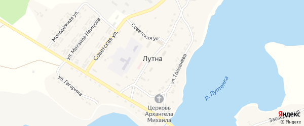 Сельская улица на карте села Лутны с номерами домов
