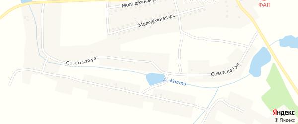 Советская улица на карте села Вельжичи с номерами домов