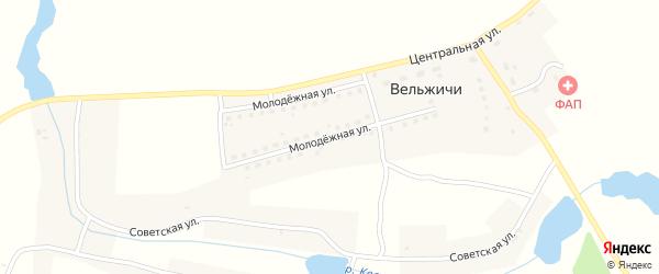 Молодежная улица на карте села Вельжичи с номерами домов