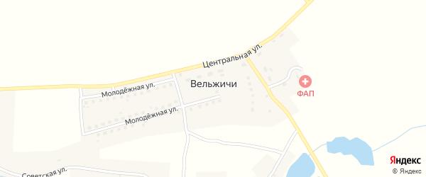 Заречная улица на карте села Вельжичи с номерами домов