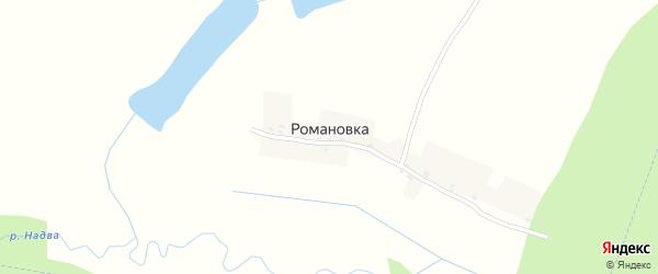 Весенняя улица на карте деревни Романовки с номерами домов