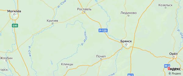 Карта Клетнянского района Брянской области с городами и населенными пунктами