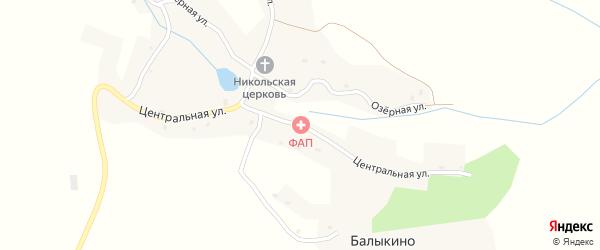 Центральная улица на карте села Балыкино с номерами домов
