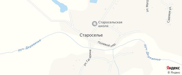 Школьный переулок на карте села Староселья с номерами домов