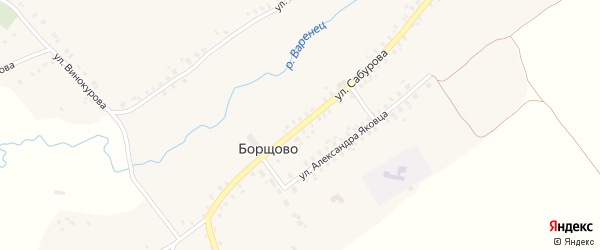 Улица Сабурова на карте села Борщово с номерами домов