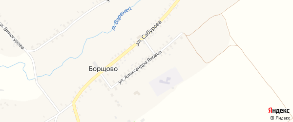 Улица Александра Яковца на карте села Борщово с номерами домов