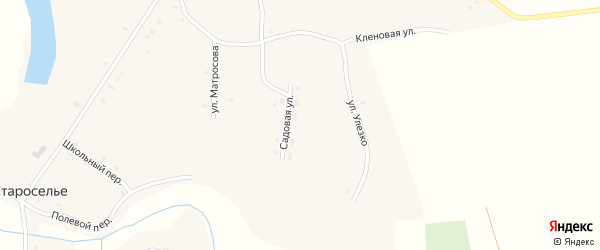 Садовый переулок на карте села Староселья с номерами домов