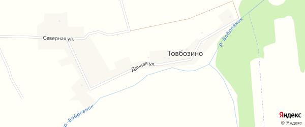 Дачная улица на карте деревни Товбозино с номерами домов