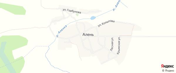 Карта деревни Алня в Брянской области с улицами и номерами домов