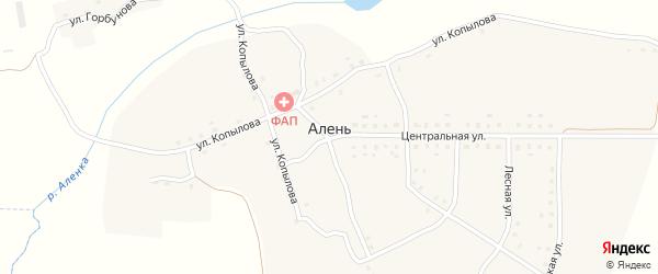 Молодежная улица на карте деревни Алня с номерами домов