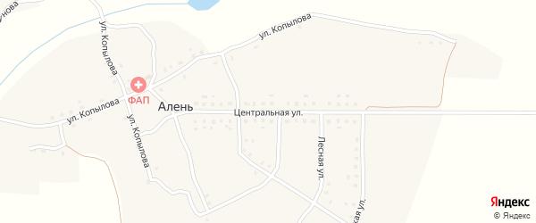 Центральная улица на карте деревни Алня с номерами домов
