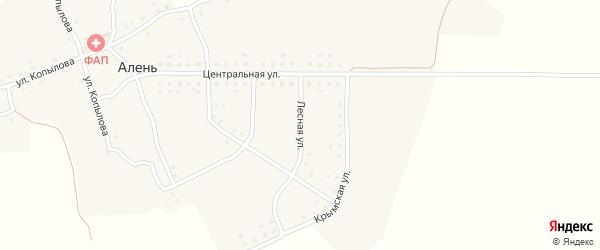 Лесная улица на карте деревни Алня с номерами домов
