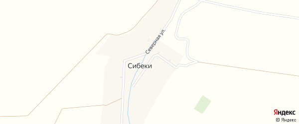 Железнодорожная улица на карте деревни Сибеки с номерами домов
