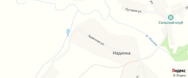 Заречная улица на карте деревни Надинки с номерами домов