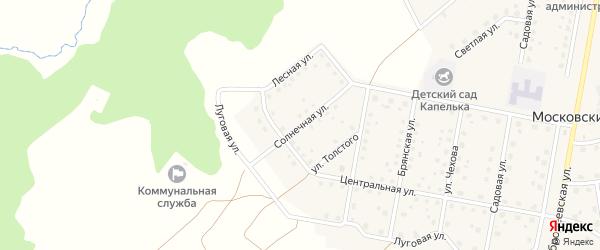 Солнечная улица на карте Московского поселка с номерами домов